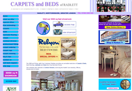 Our webdesigners created a colourful website for the Carpets and Beds shop in Radlett Hertfordshire